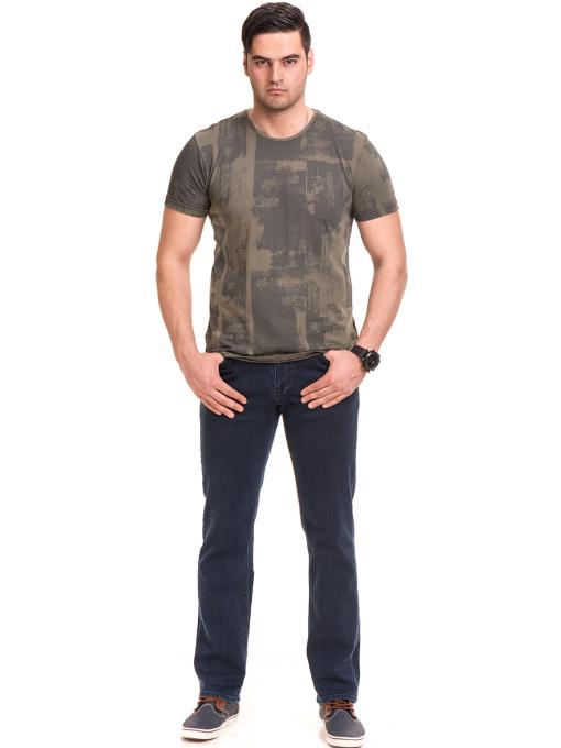 Мъжка тениска с къс ръкав и обло деколте VIGOSS 61023 - цвят каки C