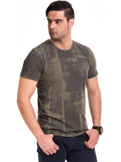 Мъжка тениска с къс ръкав и обло деколте VIGOSS 61023 - цвят каки