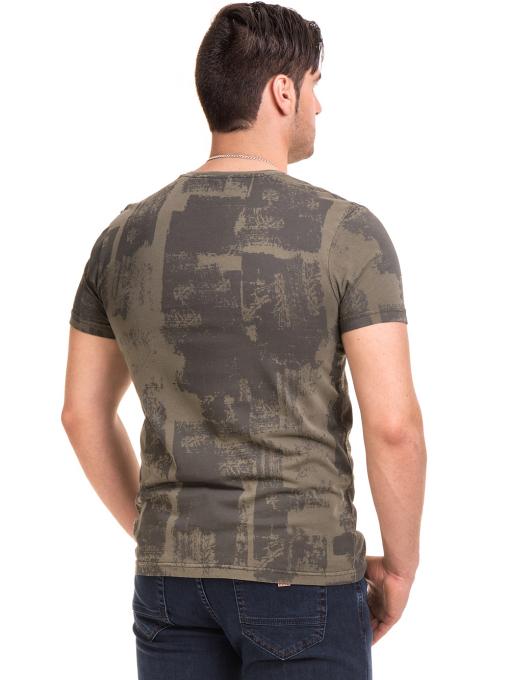 Мъжка тениска с къс ръкав и обло деколте VIGOSS 61023 - цвят каки B