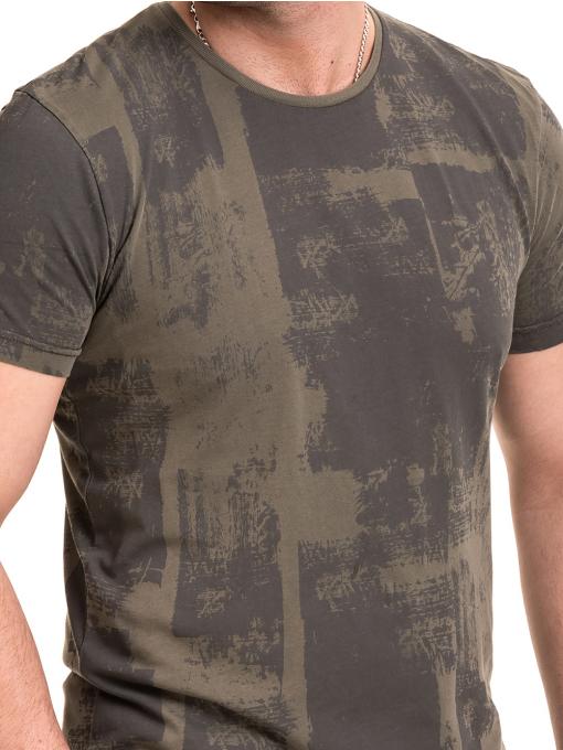 Мъжка тениска с къс ръкав и обло деколте VIGOSS 61023 - цвят каки D