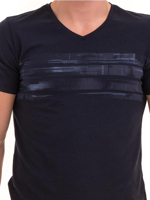 Мъжка тениска с V-образно деколте XINT 054 - тъмно синя D