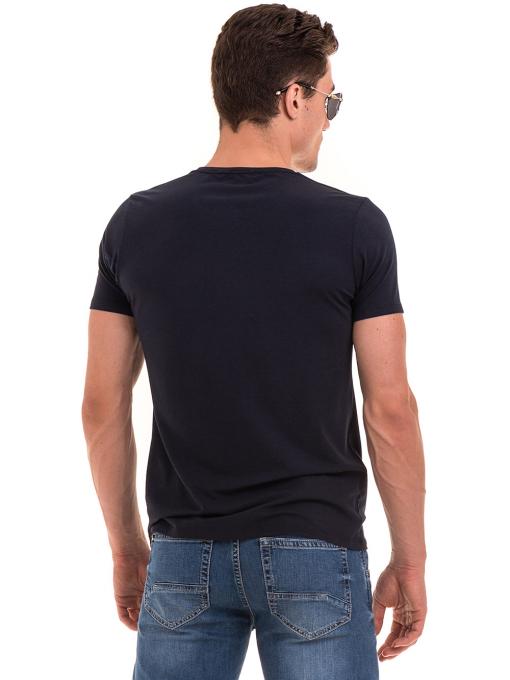 Мъжка тениска с V-образно деколте XINT 054 - тъмно синя B
