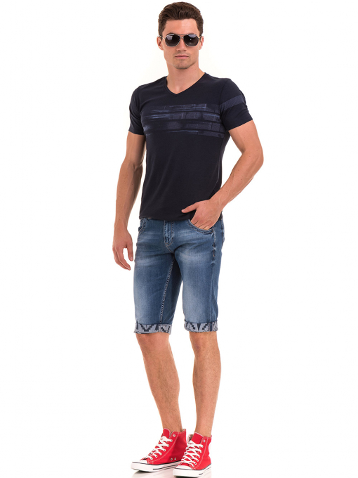 Мъжка тениска с V-образно деколте XINT 054 - тъмно синя C