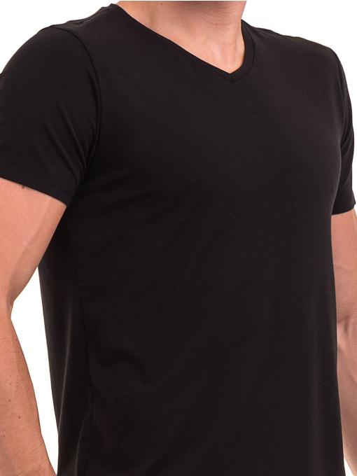 Мъжка тениска с V-образно деколте XINT 078 - черна D