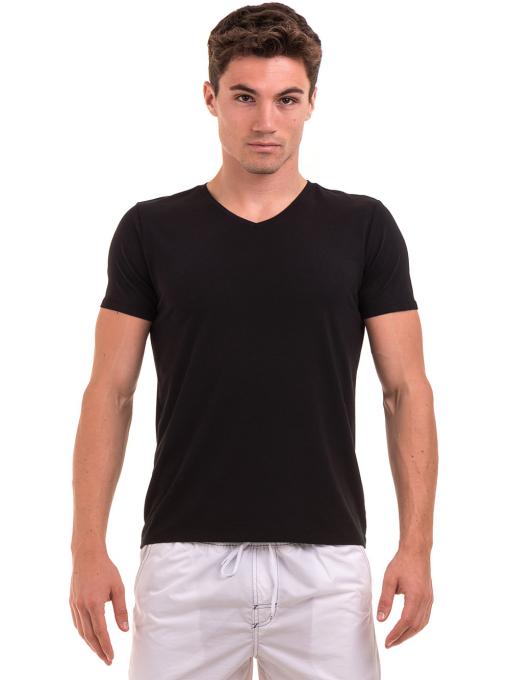 Мъжка тениска с V-образно деколте XINT 078 - черна