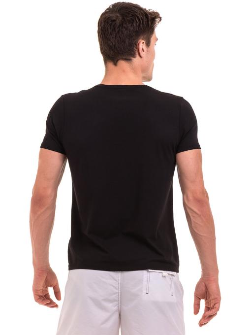 Мъжка тениска с V-образно деколте XINT 078 - черна B