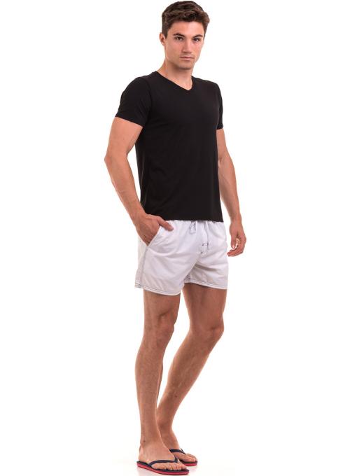 Мъжка тениска с V-образно деколте XINT 078 - черна C