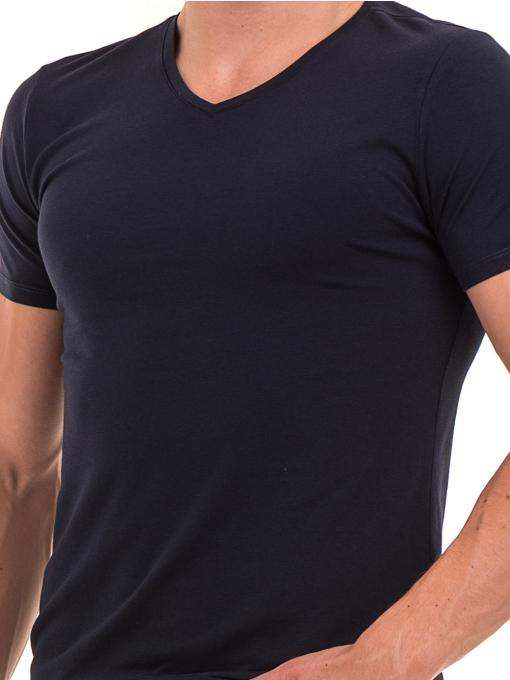 Мъжка вталена тениска XINT 078 - тъмно синя D