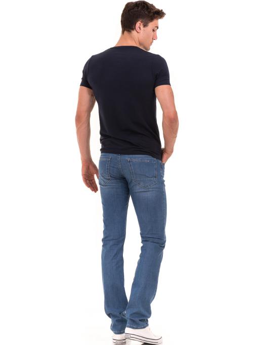 Мъжка вталена тениска XINT 078 - тъмно синя E