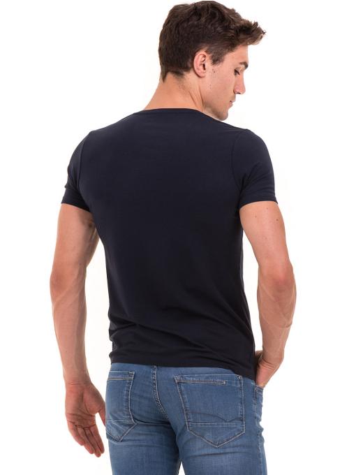 Мъжка вталена тениска XINT 078 - тъмно синя B