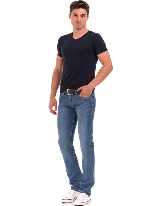 Мъжка вталена тениска XINT 078 - тъмно синя C