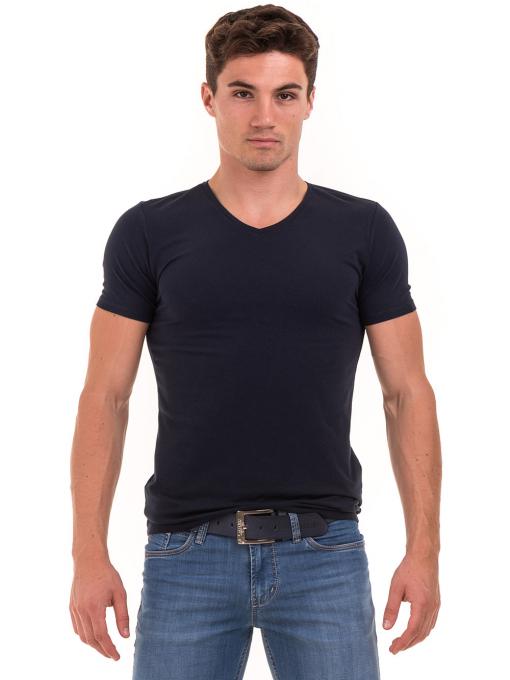Мъжка вталена тениска XINT 078 - тъмно синя