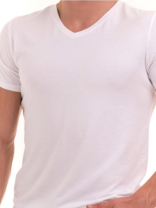 Мъжка вталена тениска XINT 078 - бяла D