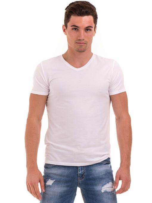 Мъжка вталена тениска XINT 078 - бяла
