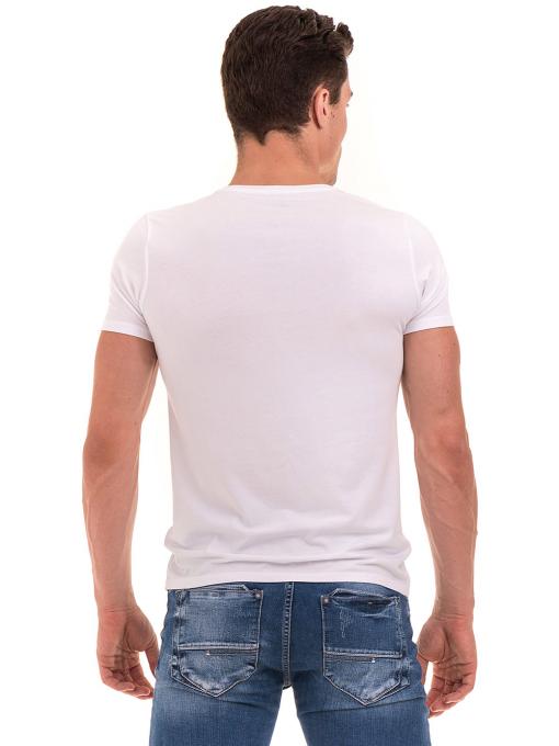 Мъжка вталена тениска XINT 078 - бяла B