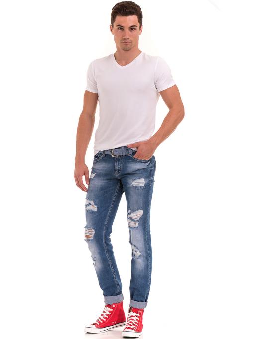 Мъжка вталена тениска XINT 078 - бяла C