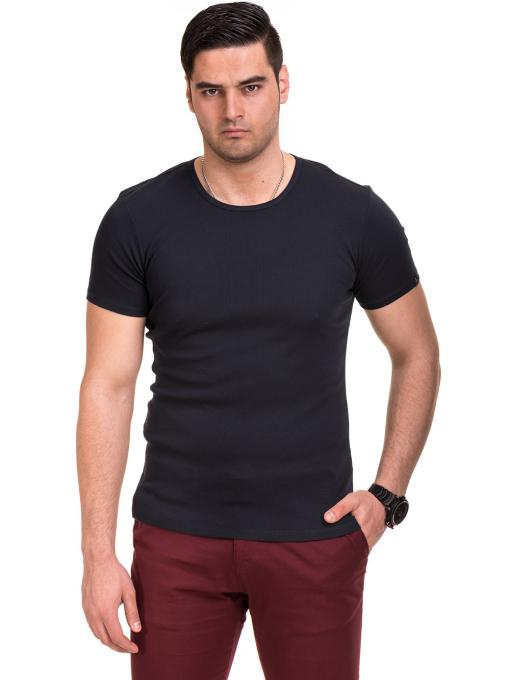 Мъжка вталена тениска XINT 081 - тъмно синя