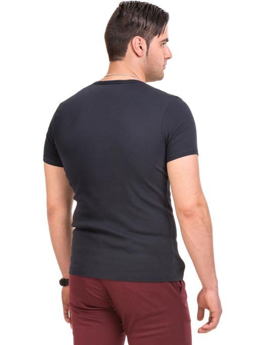 Мъжка вталена тениска XINT 081 - тъмно синя B