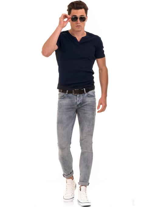 Мъжка вталена тениска с V-образно деколте XINT 082 - тъмно синя C