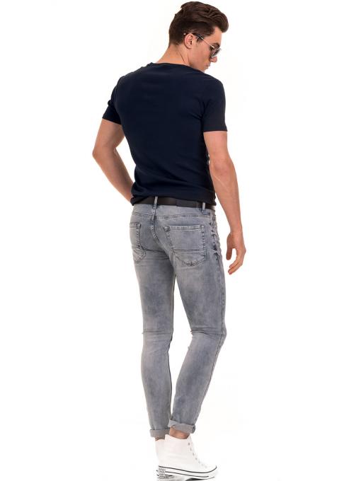 Мъжка вталена тениска с V-образно деколте XINT 082 - тъмно синя E