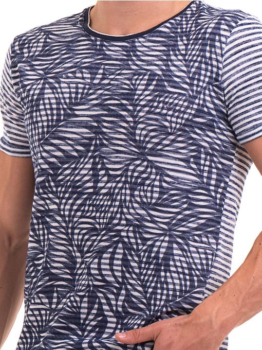 Мъжка тениска с флорални мотиви XINT 102 - тъмно синя D