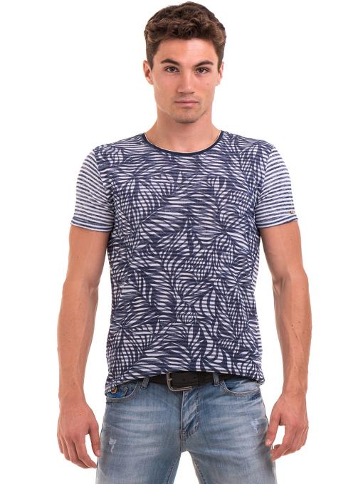 Мъжка тениска с флорални мотиви XINT 102 - тъмно синя