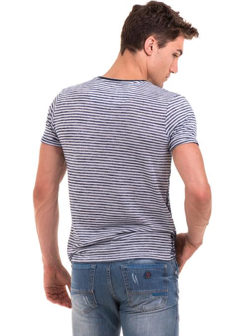 Мъжка тениска с флорални мотиви XINT 102 - тъмно синя B
