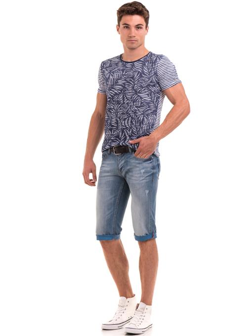 Мъжка тениска с флорални мотиви XINT 102 - тъмно синя C