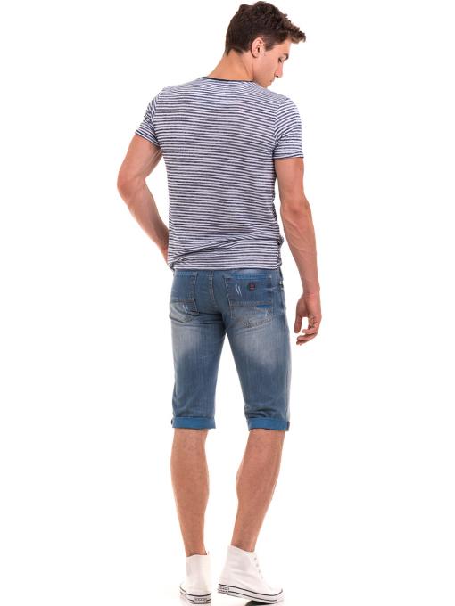 Мъжка тениска с флорални мотиви XINT 102 - тъмно синя E