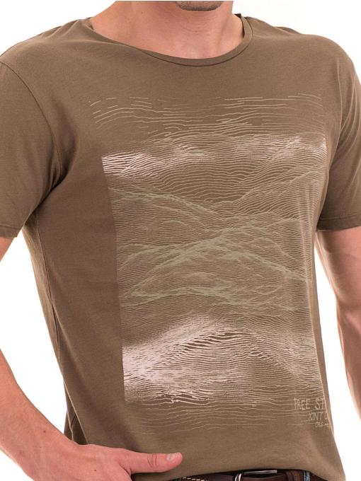 Мъжка тениска с обло деколте XINT 113 - цвят каки D