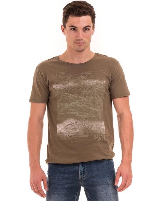 Мъжка тениска с обло деколте XINT 113 - цвят каки