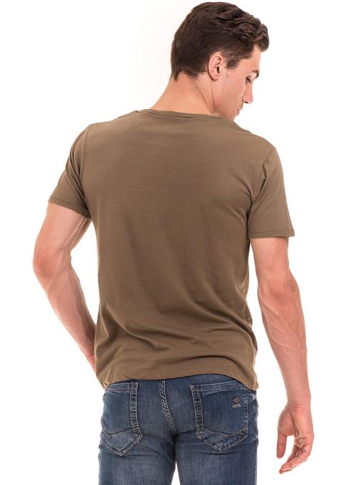 Мъжка тениска с обло деколте XINT 113 - цвят каки B