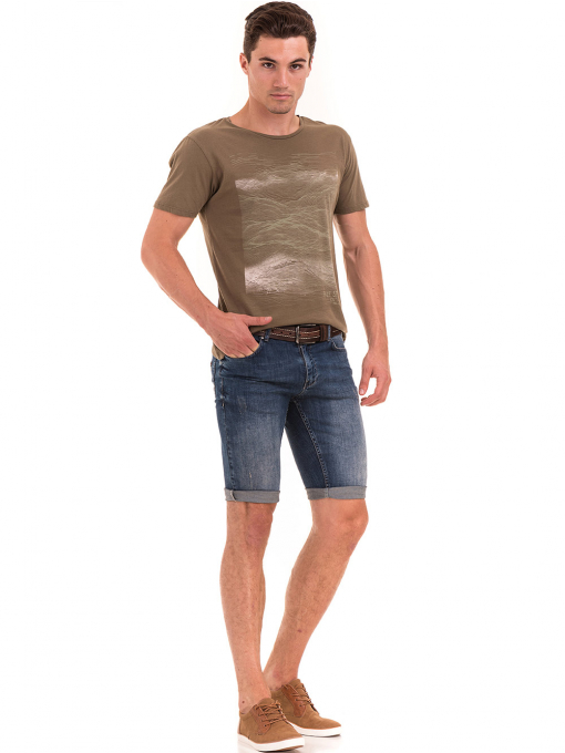 Мъжка тениска с обло деколте XINT 113 - цвят каки C