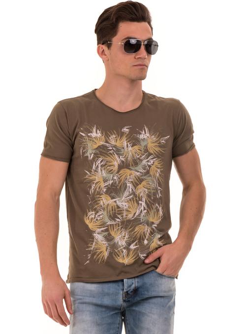Мъжка тениска с щампа XINT 117 - цвят каки
