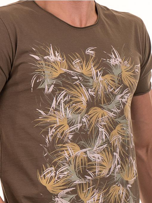 Мъжка тениска с щампа XINT 117 - цвят каки D