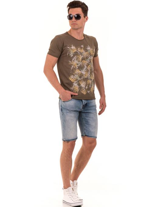 Мъжка тениска с щампа XINT 117 - цвят каки C