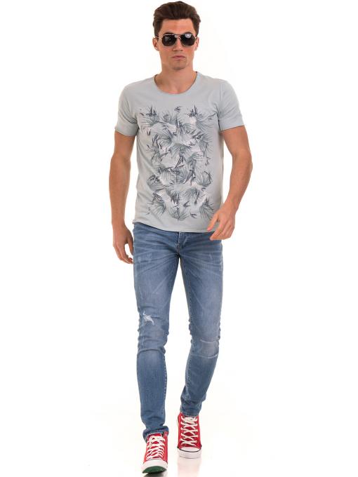Мъжка тениска с щампа XINT 117 - светло синя C