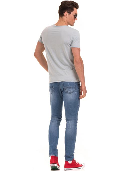 Мъжка тениска с щампа XINT 117 - светло синя E