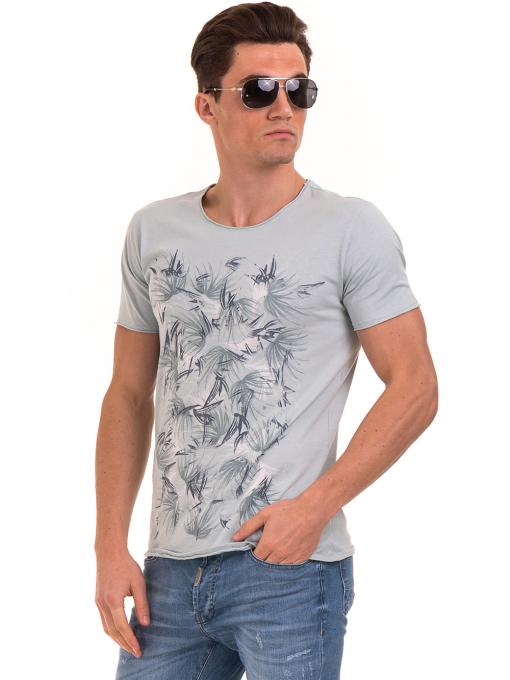 Мъжка тениска с щампа XINT 117 - светло синя