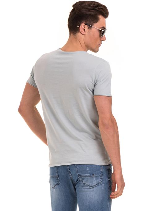 Мъжка тениска с щампа XINT 117 - светло синя B