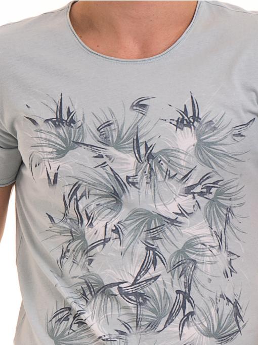 Мъжка тениска с щампа XINT 117 - светло синя D