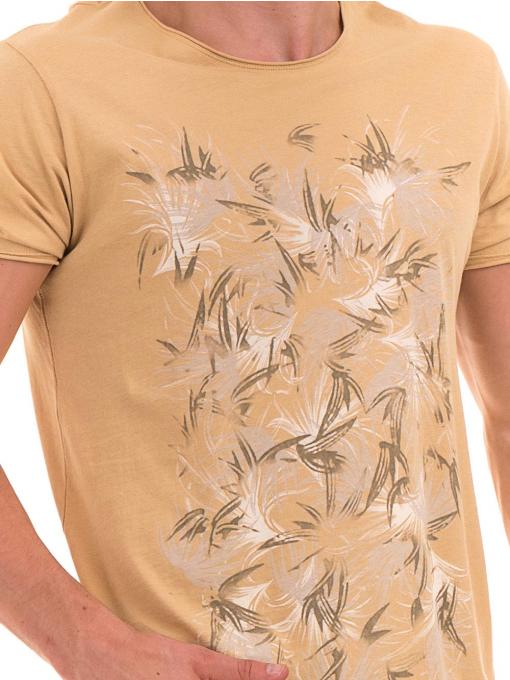 Мъжка тениска с щампа XINT 117 - цвят горчица D