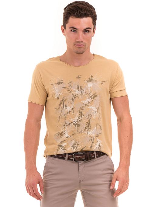 Мъжка тениска с щампа XINT 117 - цвят горчица