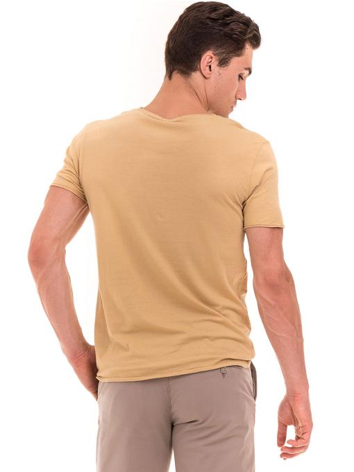 Мъжка тениска с щампа XINT 117 - цвят горчица B