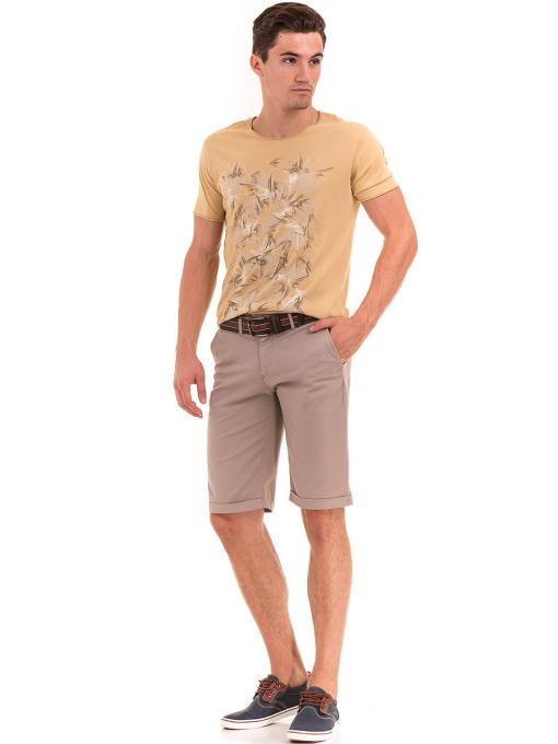 Мъжка тениска с щампа XINT 117 - цвят горчица C