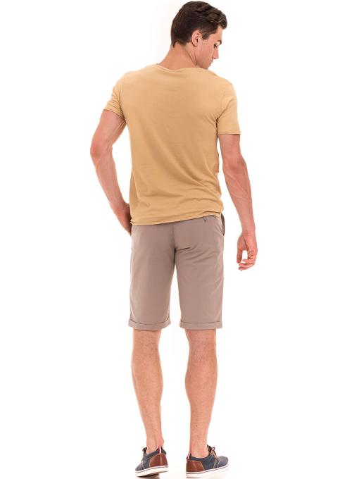 Мъжка тениска с щампа XINT 117 - цвят горчица E