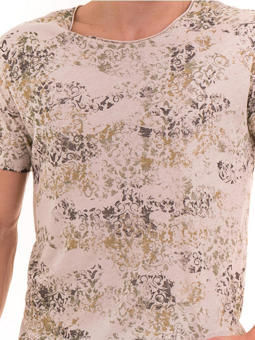 Мъжка тениска с овално деколте XINT 118- цвят светло бежово D