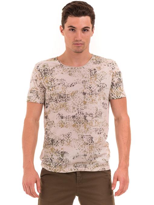 Мъжка тениска с овално деколте XINT 118- цвят светло бежово