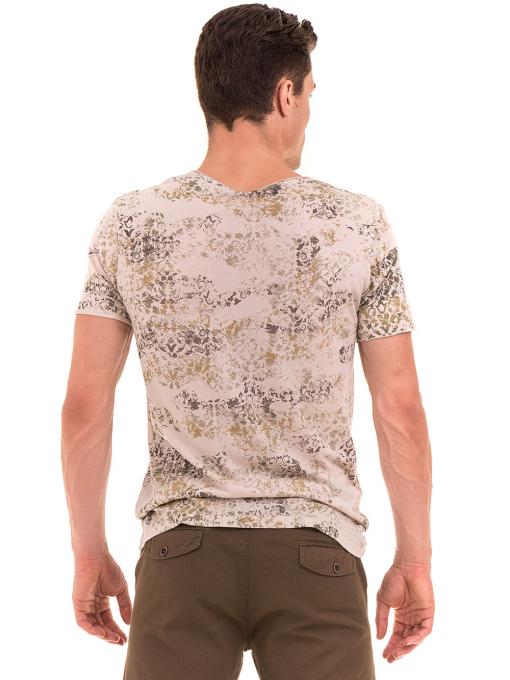 Мъжка тениска с овално деколте XINT 118- цвят светло бежово B