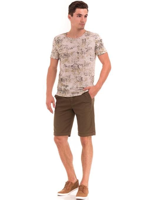 Мъжка тениска с овално деколте XINT 118- цвят светло бежово C